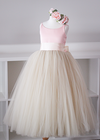 The Grace Dress: Blush Satin Bodice and Champagne Tulle