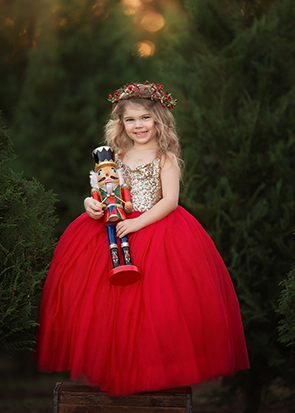 The Ophelia Dress: Gold Sequin Bodice and Red Skirt