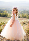 The Juliet Dress: Ivory Satin Bodice and Blush Tulle