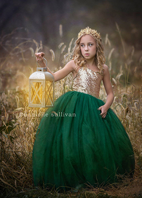 The Ophelia Dress: Gold Sequin Bodice and Forest Green Skirt