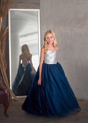 The Ophelia Dress: Silver Sequin Bodice and Navy Skirt