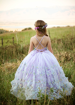 The Mariposa Gown - Lavender Butterfly 3D Lace