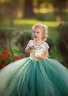 The Everly Dress: Ivory Bodice and Sage Green Tulle