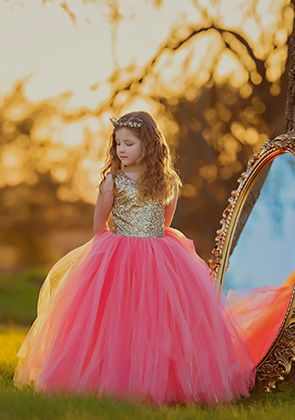 The Juliet Dress: Gold Sequin Bodice and Coral/Peach Tulle