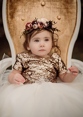 The Sophia Dress: Gold Sequin Bodice and Ivory Tulle Skirt