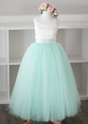 The Grace Dress: Ivory Satin Bodice and Mint Tulle