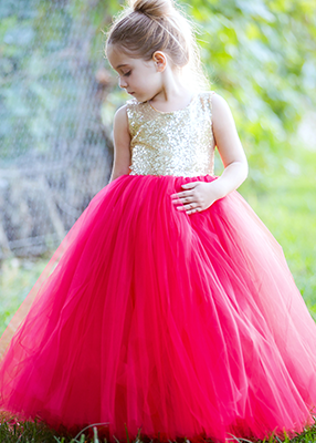 The Juliet Dress: Gold Sequin Bodice and Red Tulle
