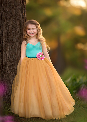 The Ophelia Dress: Teal Bodice and Mustard Skirt with Pink Flower and Teal Sash