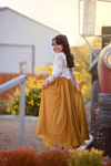The Savannah Dress: Ivory Lace and Mustard Yellow