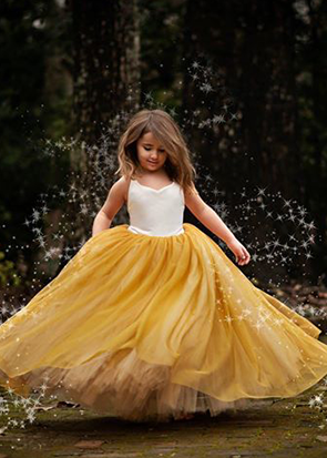 The Ophelia Dress: Ivory Bodice and Mustard Skirt