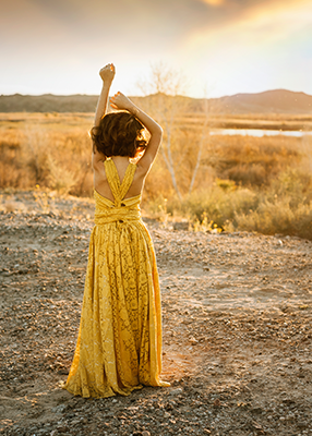 The Lace Danielle Dress: Mustard