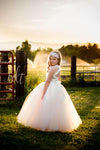 The Olivia Dress: Ivory Satin Bodice and Ivory/Blush Tulle