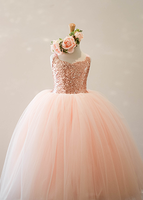 The Ophelia Dress: Blush (Rose Gold) Sequin Bodice and Blush Skirt
