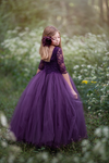 The Sophia Dress in Lace: Eggplant
