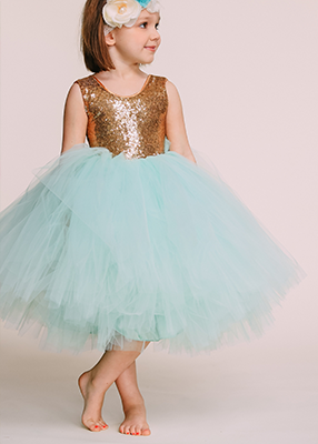 The Juliet Dress Gold Sequin Bodice And Mint Tulle Little