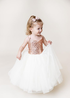 The Ophelia Dress: Blush Sequin Bodice and Light Ivory Skirt