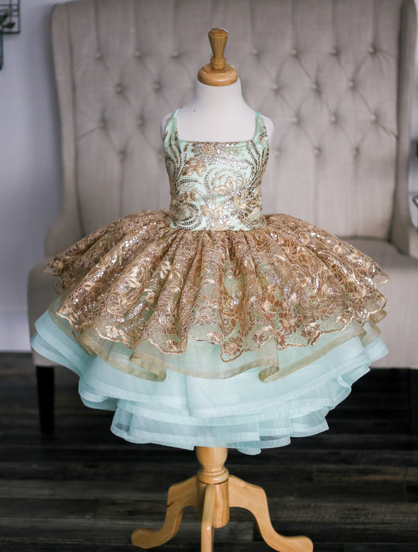 The Traveling Dress Project: The Gilded Mermaid Gown - Size 4, shortie style, fits 3-6