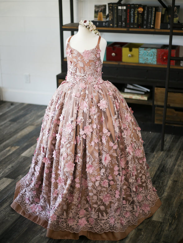 The Traveling Dress Project: The Dahlia Gown in Mauve and Copper - Size 10, fits 8-12