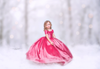 The Traveling Dress Project: The Hadley Gown in Raspberry WITH Floral Crown: Size 5, fits sizes 3-6