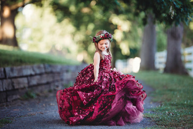 The Traveling Dress Project: The Emersyn Butterfly Gown in Burgundy - Full length - Size 5, fits sizes 4-6