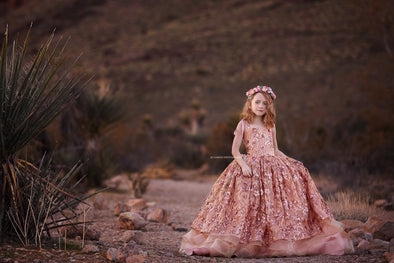 The Traveling Dress Project: The Copper Rose Gown - Full Length - Size 10, fits 7-12