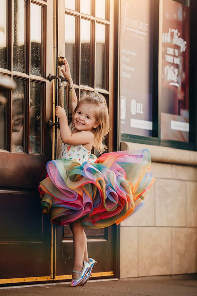 The Traveling Dress Project: Rainbow Shortie: Size 5: fits sizes 3-8