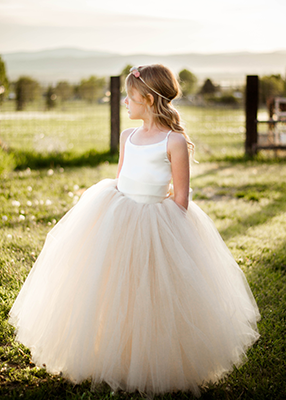 The Grace Dress: Ivory Satin Bodice and Champagne Tulle