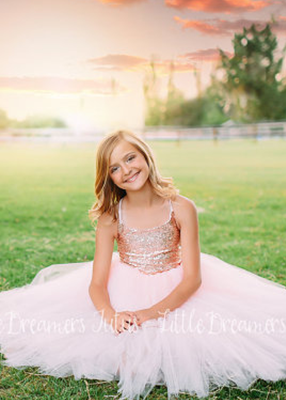 The Grace Dress: Blush Sequin Bodice and Blush Tulle