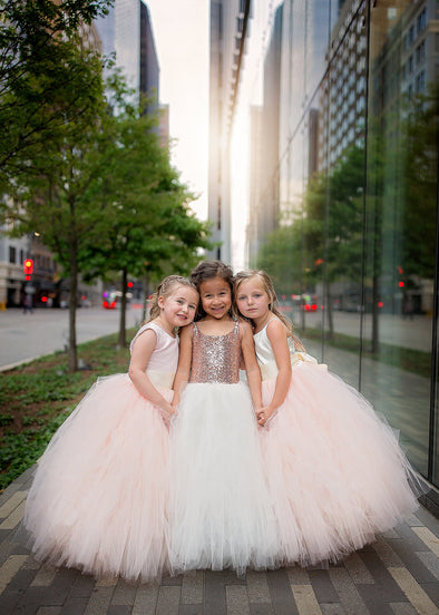 The Grace Dress: Ivory Satin Bodice and Blush Tulle