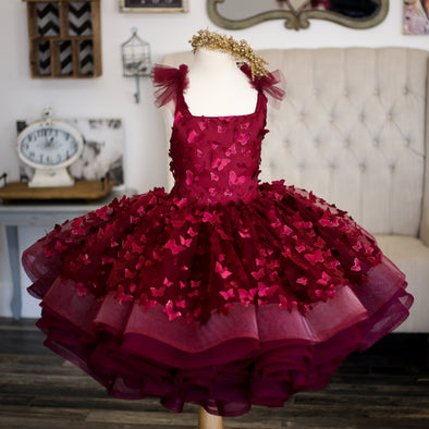 Traveling Rental Dress: The Emersyn Butterfly Gown in Burgundy: Shortie: Size 6, fits sizes 4-8