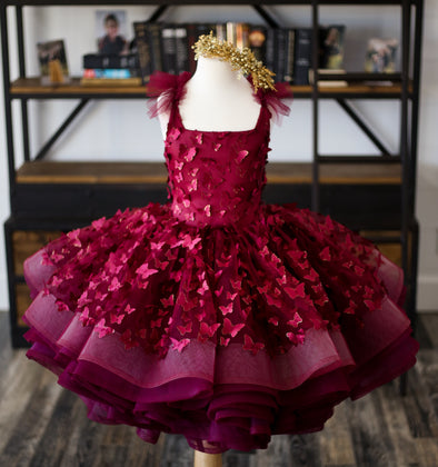 The Emersyn Gown - Burgundy 3D butterflies with Gold accented edges