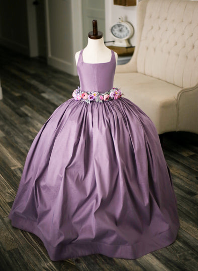 The Traveling Dress Project: The Hadley Gown in Dusty Lavender with Flower Sash - Size 8, fits 6-10
