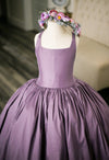 The Traveling Dress Project: The Hadley Gown in Dusty Lavender with Flower Sash - Size 5, fits 3-7