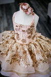 The Traveling Dress Project: The Mia Gown: Gold and Blush. Shortie Style: Size 7, fits 4-10 minimum