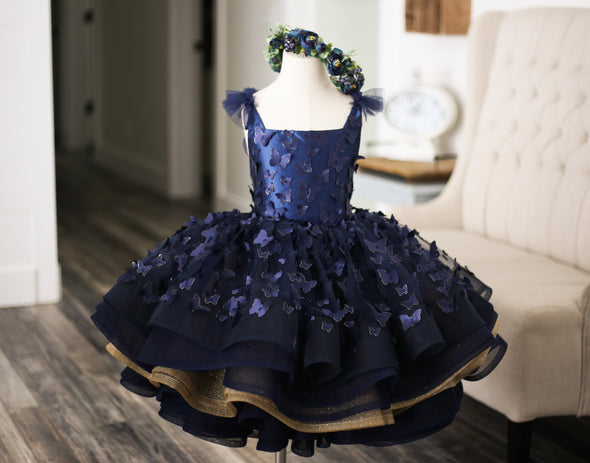 The Traveling Dress Project: The Emersyn Butterfly Gown in Navy and Gold: Shortie style: Size 4/5, fits 3-7 minimum