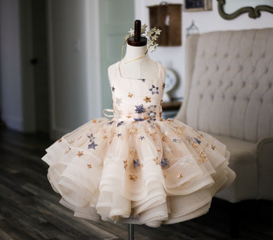 The Traveling Dress Project: The Star Gown in Champagne: Shortie Style: Size 5, fits sizes 3-7 minimum