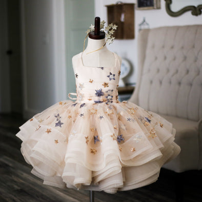 The Traveling Dress Project: The Star Gown in Champagne: Size 5 Shortie: fits sizes 3-7