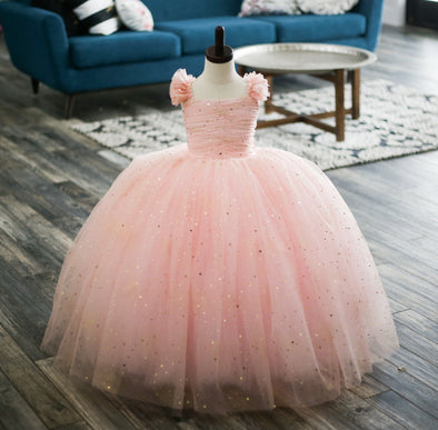 The Traveling Dress Project: Pink and Gold Star Gown - Size 5T, fits sizes 3-7