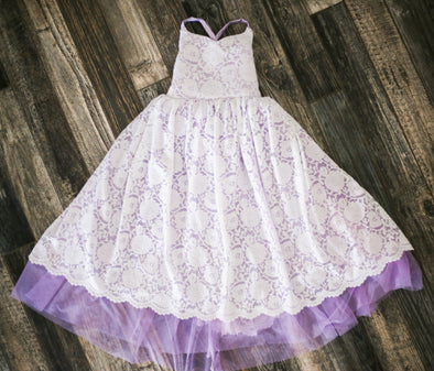 LAST ONES!! RTS SALE: The Paige Dress: Ivory Lace over Lavender