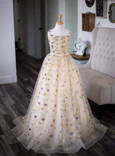 The Traveling Dress Project: The Star Gown in Champagne. Size 14. Fits sizes 10-14