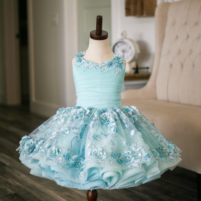 Traveling Rental Dress: The Cherry Blossom in Blue Shortie: Size 6, fits sizes 4-petite 8