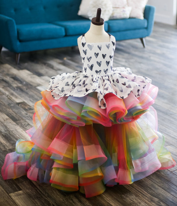 The Traveling Dress Project: The Black and White Rainbow, High Low Gown: size 8, fits sizes 5-10