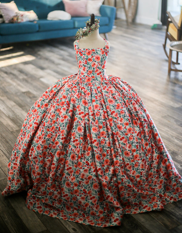 The Traveling Dress Project: Floral Berries Gown: Size 10, fits sizes 6-12
