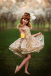 "The Traveling Dress Project: ""Goldie"": Shortie Style: Size 6, fits sizes 3-10 minimum"