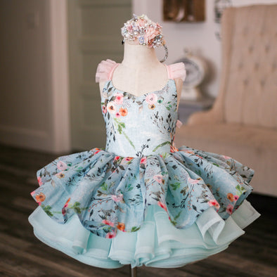 "The Traveling Dress Project: The ""April Showers"" Gown: Size 5 Shortie, fits sizes 3-slender 7"
