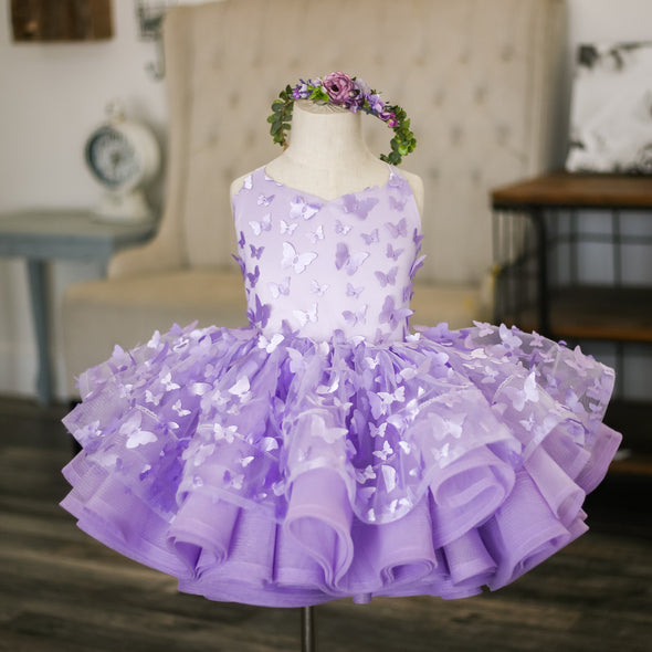 The Traveling Dress Project: The Emersyn Butterfly Gown in Lavender: Size 6 shortie, fits sizes 4-petite 8