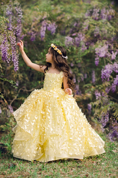 The Traveling Dress Project: The Emersyn Gown in Pale Yellow - Full length - Size 6, fits sizes 5-7