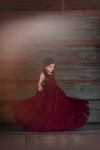 Rent The Alyssa Gown in Burgundy Swiss Dot - Size 6: fits 4-8yrs