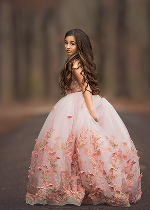 The Mariposa Gown - Blush Butterfly 3D Lace