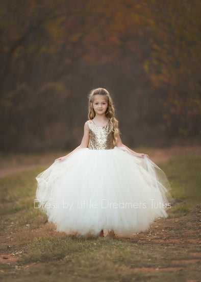 The Juliet Dress: Gold Sequin Bodice and Ivory Tulle